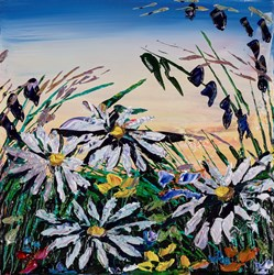 Wild Daisies V by Maya Eventov - Original Painting on Stretched Canvas sized 12x12 inches. Available from Whitewall Galleries