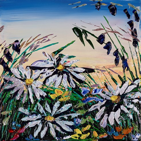 Wild Daisies V by Maya Eventov - Original Painting on Stretched Canvas